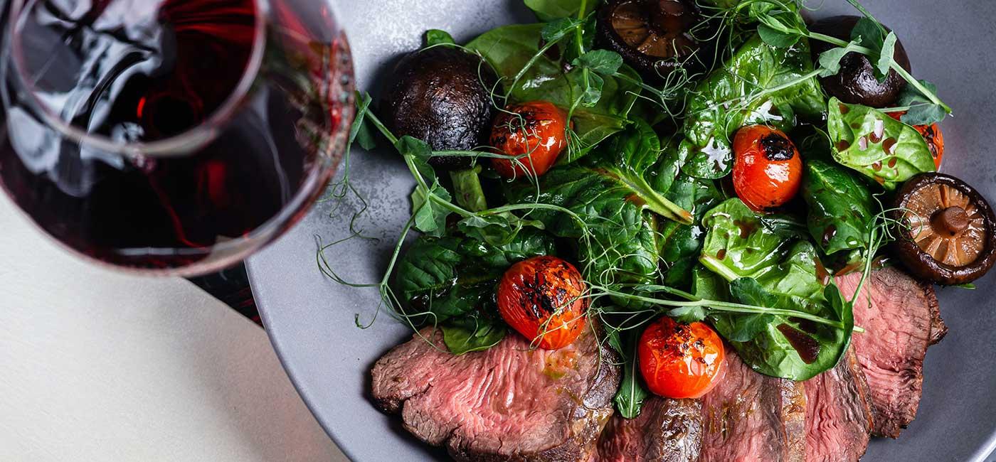 Steak, Salad and wine