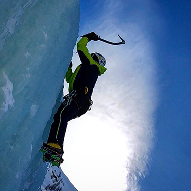 Agostina ice climbing