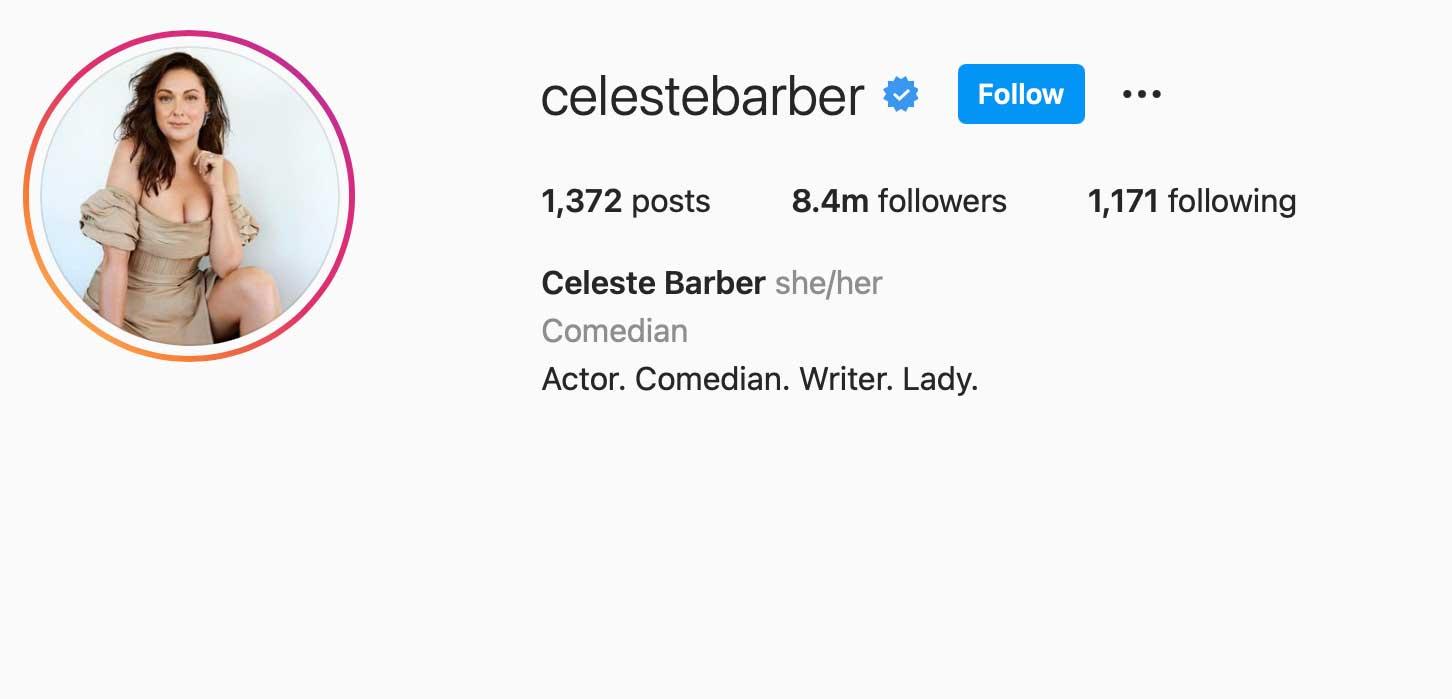 image of instagram account celestebarber