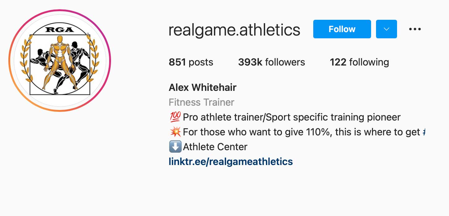 image of instagram account realgame.athletics