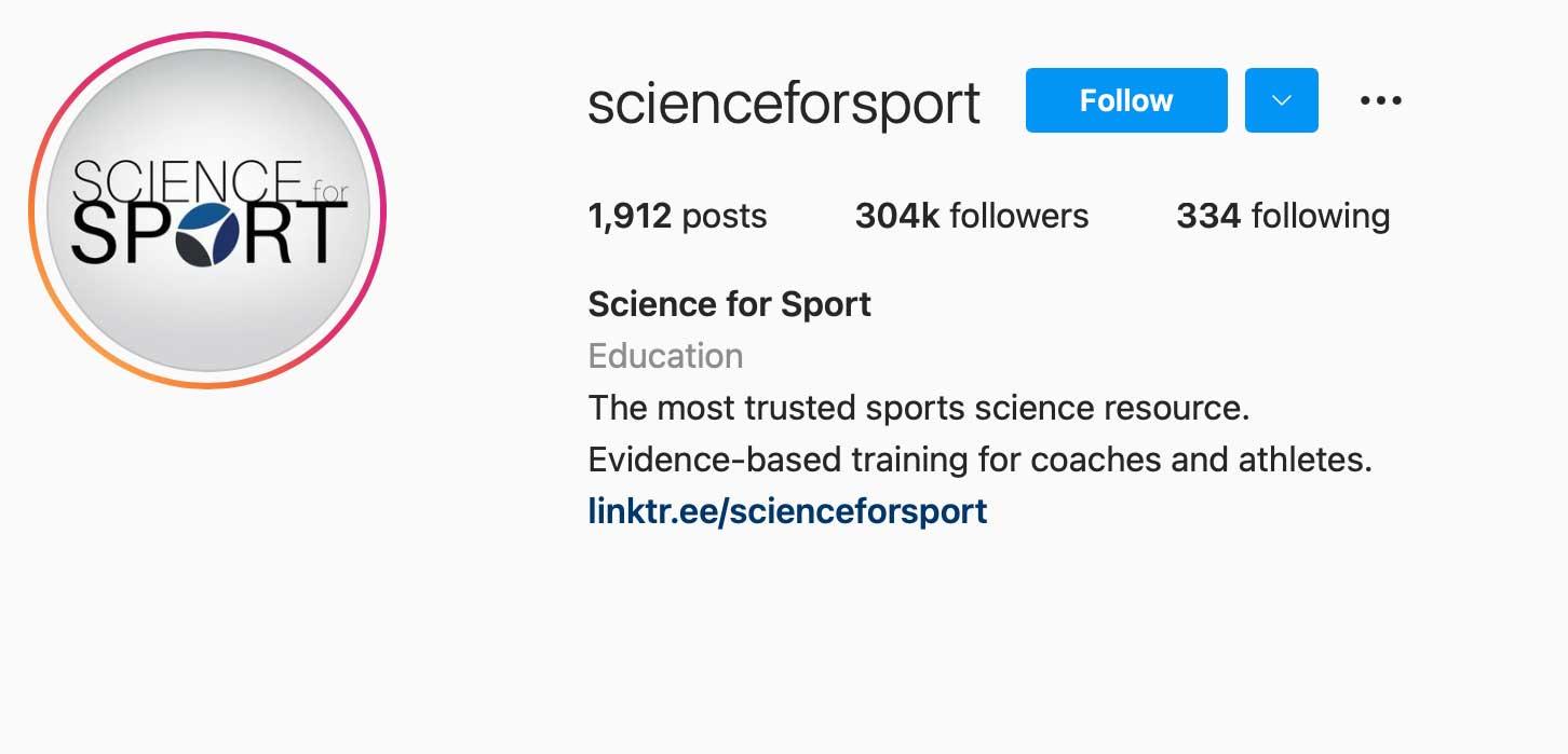 image of instagram account scienceforsport